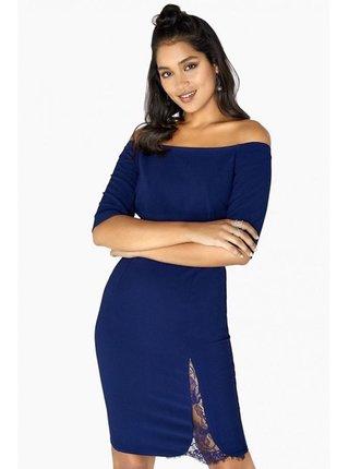 Modrý přiléhavé šaty s krajkou LITTLE MISTRESS