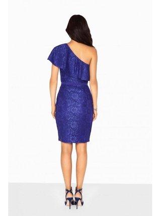 Modré volánové šaty na jedno rameno LITTLE MISTRESS