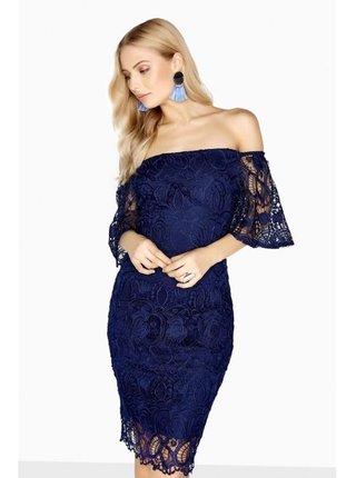 Modré midi šaty s háčkovanou krajkou LITTLE MISTRESS