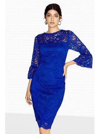 Modré krajkové midi šaty LITTLE MISTRESS