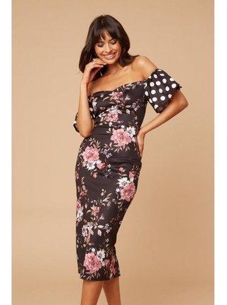 Černé květinové šaty s puntiky na rukávech LITTLE MISTRESS
