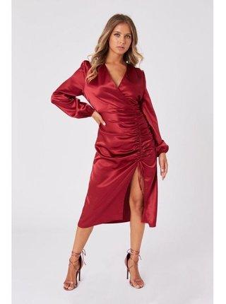 Červené saténové šaty s řasením LITTLE MISTRESS