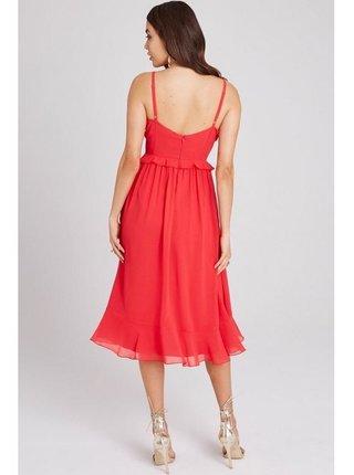 Červené volánkové midi šaty LITTLE MISTRESS