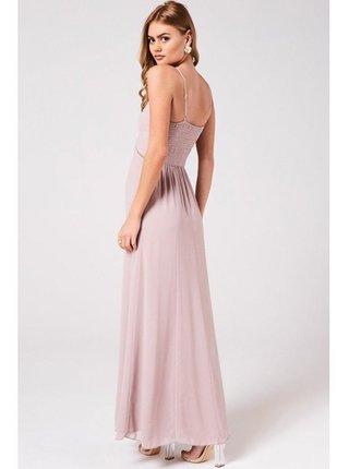 Růžové projmuté maxi šaty LITTLE MISTRESS