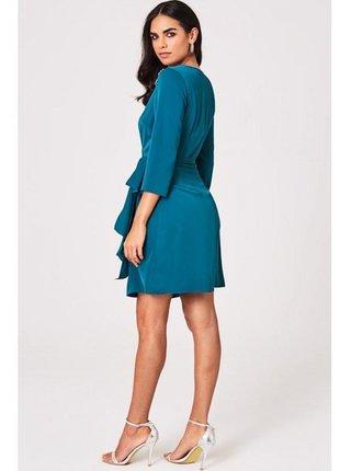 Modré zdobené zavinovací mini šaty LITTLE MISTRESS