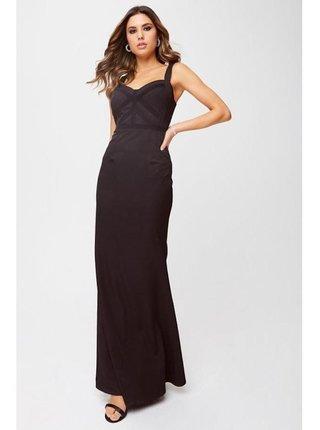 Černé maxi šaty s krajkovým lemem LITTLE MISTRESS