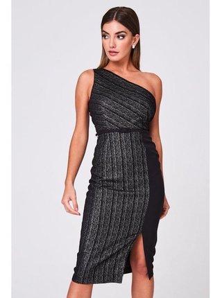Černé midi šaty na jedno rameno LITTLE MISTRESS
