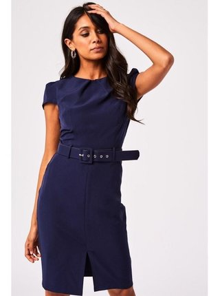 Modré pouzdrové šaty s páskem LITTLE MISTRESS