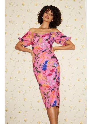 Růžové bardotové šaty s květinovým vzorem LITTLE MISTRESS