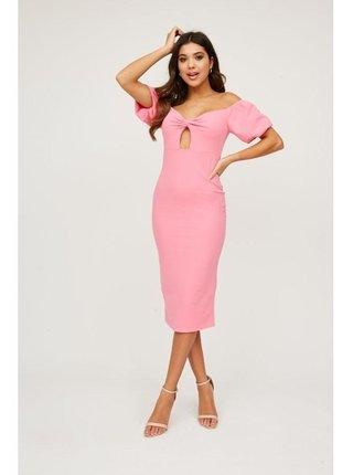 Růžové bardotové šaty s průstřihem LITTLE MISTRESS