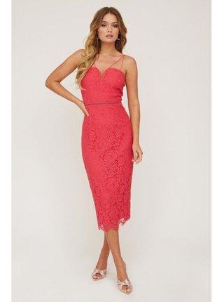 Červené krajkové šaty se srdíčkovým výstřihem LITTLE MISTRESS
