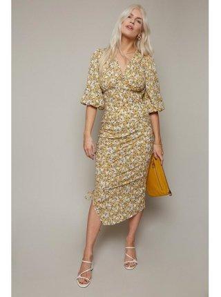 Žlutá květinová midi sukně LITTLE MISTRESS