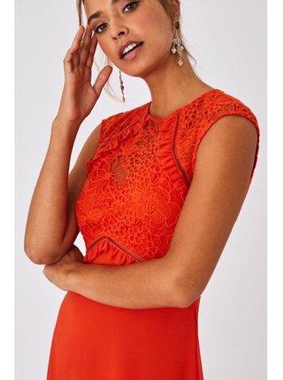 Červené midi šaty s háčkovanou krajkou LITTLE MISTRESS