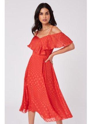Červené midi šaty s puntiky LITTLE MISTRESS