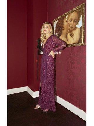 Vínové maxi šaty zdobené flitry LITTLE MISTRESS
