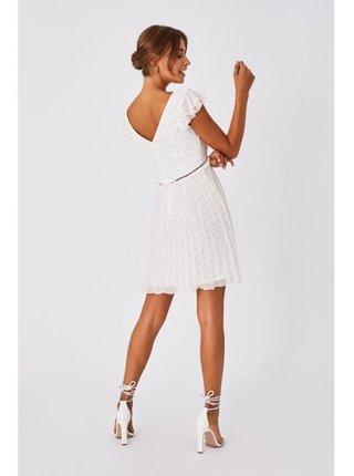 Bílé lurexové šaty skater střihu LITTLE MISTRESS