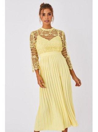 Žluté skládané šaty s háčkovanou krajkou LITTLE MISTRESS