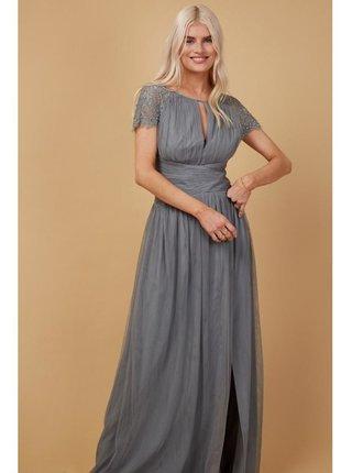 Šedé maxi šaty se zdobenou krajkou LITTLE MISTRESS