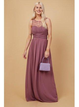 Růžové zdobené maxi šaty se srdíčkovým výstřihem LITTLE MISTRESS