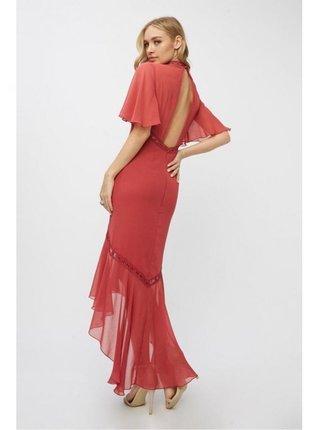Červené maxi šaty s šifonem LITTLE MISTRESS