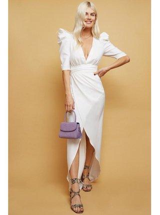 Bílé zavinovací šaty s vyvýšenými rameny LITTLE MISTRESS