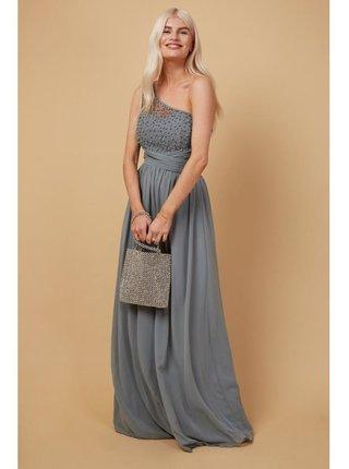 Šedé zdobené maxi šaty na jedno rameno LITTLE MISTRESS