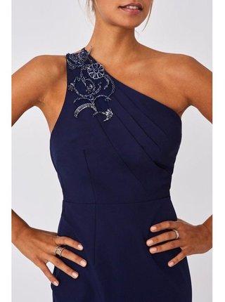 Tmavě modré zdobené maxi šaty na jedno rameno LITTLE MISTRESS