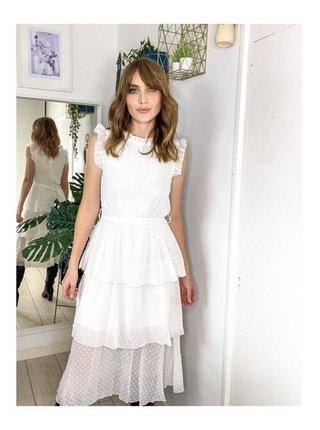 Bílé midi šaty stupňovitého střihu LITTLE MISTRESS