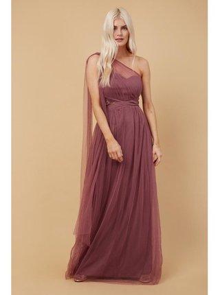 Růžové šifonové maxi šaty na jedno rameno LITTLE MISTRESS
