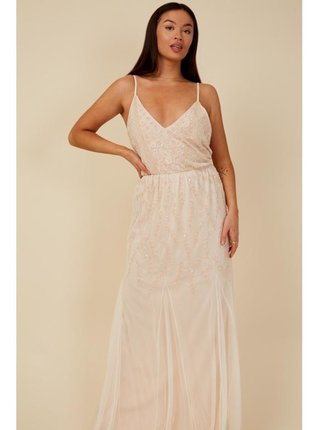 Tělové maxi šaty s květinovou aplikací LITTLE MISTRESS