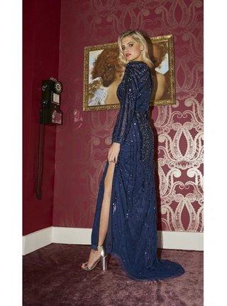 Tmavě modrý set topu a maxi sukně LITTLE MISTRESS