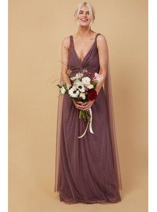 Růžové maxi šaty s vlečkou LITTLE MISTRESS