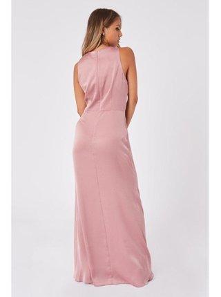 Růžové saténové maxi šaty LITTLE MISTRESS
