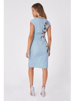 Modré pouzdrové šaty s květinovým motivem LITTLE MISTRESS