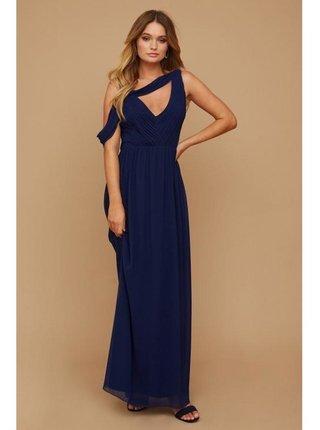 Tmavě modré maxi šaty s asymetrickým střihem LITTLE MISTRESS