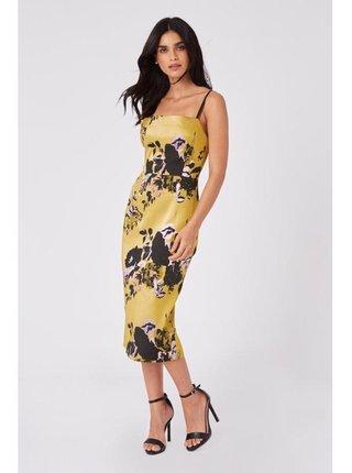 Žluté přiléhavé šaty s květinovým vzorem LITTLE MISTRESS