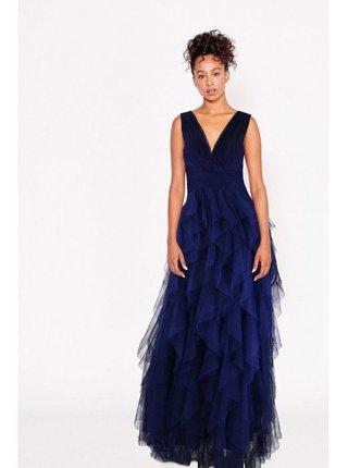 Tmavě modré maxi šaty s tylovou sukní LITTLE MISTRESS