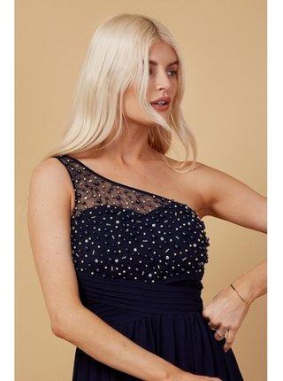 Černé zdobené maxi šaty na jedno rameno LITTLE MISTRESS