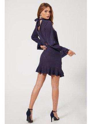 Fialové mini šaty s volánkovým lemem LITTLE MISTRESS