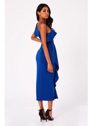 Modré midaxi šaty na jedno rameno LITTLE MISTRESS