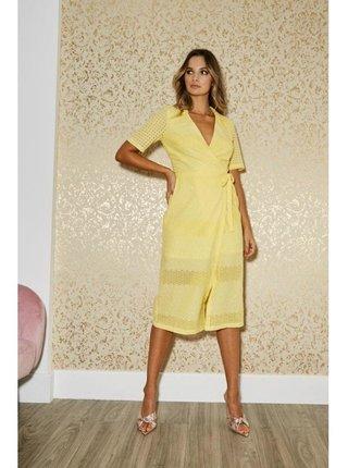 Žluté zavinovací krajkové midi šaty LITTLE MISTRESS