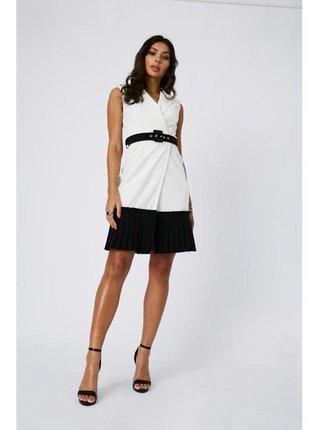 Černobílé monochromatické skládané šaty LITTLE MISTRESS