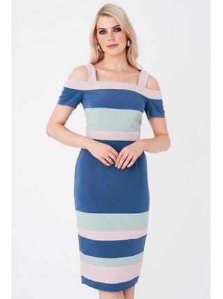 Barevné midi šaty s barevnými bloky LITTLE MISTRESS