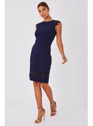 Tmavě modré přiléhavé šaty s krajkovým lemem LITTLE MISTRESS