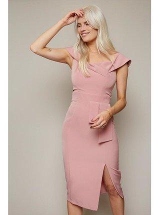 Růžové přiléhavé šaty bandeau střihu LITTLE MISTRESS