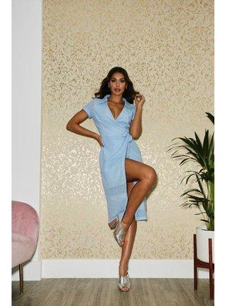 Modré zavinovací šaty s krajkou LITTLE MISTRESS