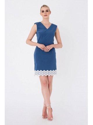 Modré mini šaty se zdobeným lemem LITTLE MISTRESS
