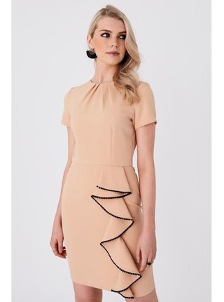 Béžové přiléhavé šaty s volánkovým detailem LITTLE MISTRESS