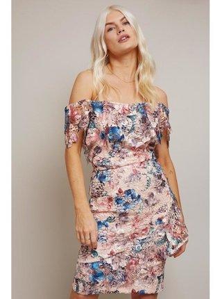 Barevné bardotové květinové šaty LITTLE MISTRESS