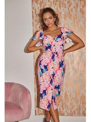Barevné květinové šaty s knoflíky LITTLE MISTRESS